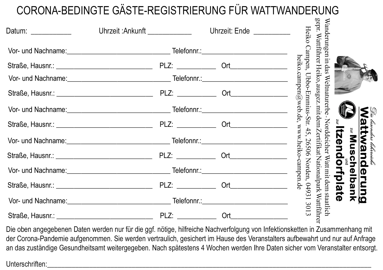 Corona Gäste registrierung